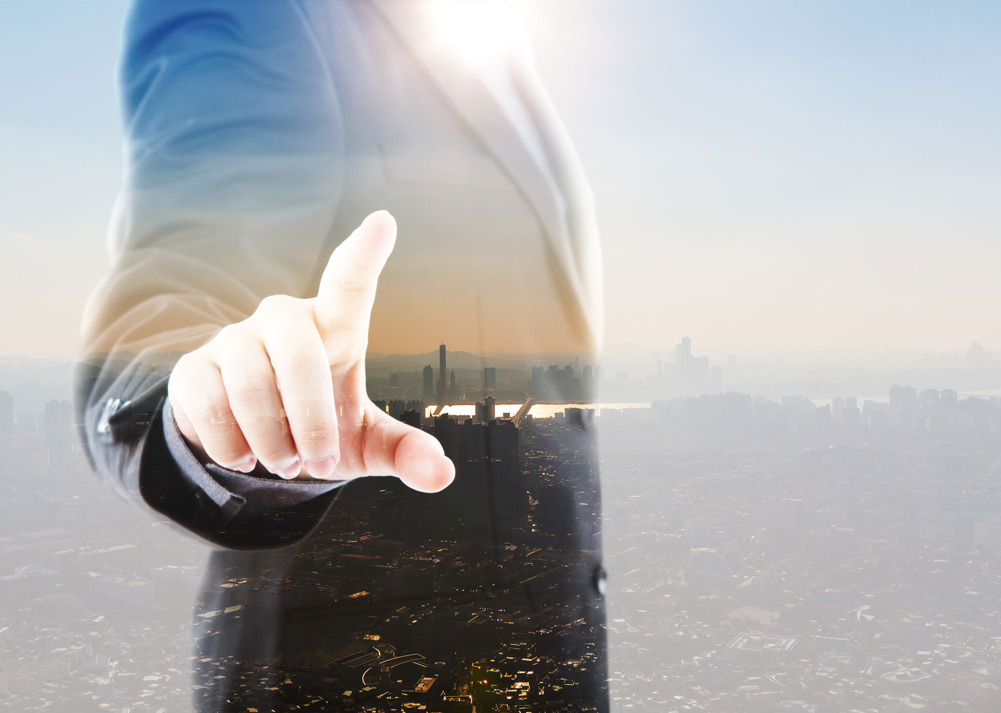 Abstract Double exposure of Business man touching an imaginary s